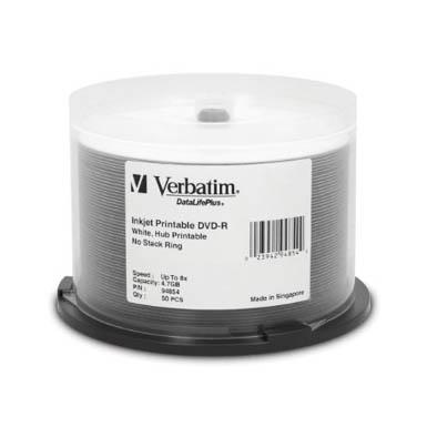 image relating to Verbatim Printable Dvd R named DVD-R 8X White Inkjet Hub printable